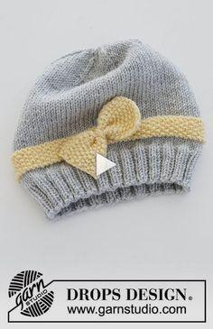 Baby Hat Knitting Pattern, Baby Hats Knitting, Knitting Patterns Free, Free Knitting, Knitted Hats, Knitting Stitches, Mittens Pattern, Free Pattern, Drops Design