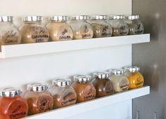DIY: Houder RIBBA voor schilderijen of foto's gebruikt als kruidenrekje met Ikea RAJTAN kruidenpotjes