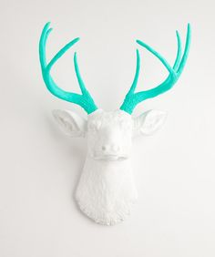 The Oleg white faux deer head wall mount with turquoise antlers. Resin stag animal head decor and wall art by White Faux Taxidermy.