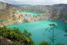 Blue and green lake, Tiwu Nua Muri Kooh Tai (lake of boys and girls) and Tiwu Ata Polo (enchanted lake), Kelimutu volcano, Flores Island, Indonesia