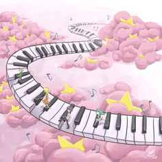 Let my music take you to a land of cotton candy where the moon and stars are hidden and melodies roam the skies. Drawing Piano, Piano Art, Star Illustration, Illustrations, Music Notes Art, Play That Funky Music, Music Drawings, Background Drawing, Music Backgrounds