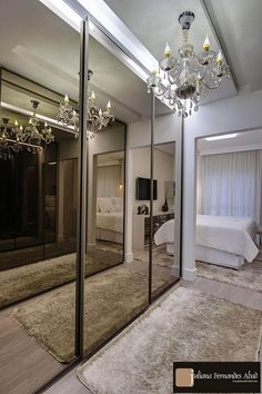 44 Super Ideas For Closet Casal Portas Wardrobe Room, Wardrobe Design Bedroom, Bedroom Decor, Wardrobe Door Designs, Closet Designs, Home Room Design, House Design, Attic Bedroom Closets, Design Case