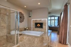19 Astonishing & Cozy Bathrooms Design Ideas With Fireplace// I love the look of one large room!!!!!