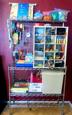 Getting School Supplies Organized With A Bakers Rack