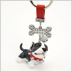 http://stores.ebay.com/madamepOmm-BlueWitch  PIT BULL TERRIER HAND SCULPT KEYCHAIN GIFT PET LOVER.