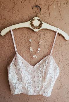 Vintage 1970s Sheer Romantic Crop pink lace bohemian