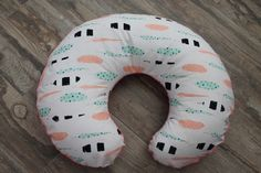 Feathers Boppy cover with coral bottom, slipcover for boppy, boppy cover with zipper- Ships Today by isewjo on Etsy https://www.etsy.com/listing/243355766/feathers-boppy-cover-with-coral-bottom