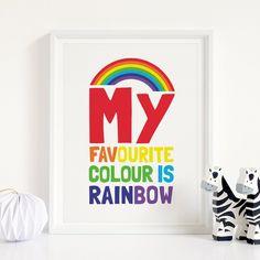My Favourite Colour is Rainbow Printable Art, Rainbow Nursery Decor, Kids Printable, Playroom Wall Art, Kids Room Decor *Instant Download* Nursery Decals, Nursery Wall Decor, Room Decor, Rainbow Nursery Decor, Printing Websites, My Favorite Color, Wall Prints, Printable Art, Playroom