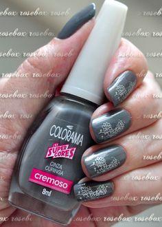 esmalte Colorama cinza curinga + carimbo
