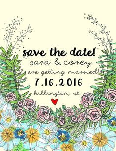 custom hand drawn save the date postcards by CecileNoir on Etsy https://www.etsy.com/listing/236292557/custom-hand-drawn-save-the-date