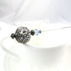 Blue, Tan, Stick Pin, Hat Pin, Hatpin, Victorian Jewelry, Scarf Pin, Lapel Pin, Silver, Stick Pin