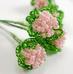Vintage French Beaded Flower Buds Pearly Pink by TUTreasures, $10.50