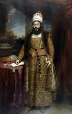 Portrait of Mirza Abu'l Hasan Khan, Envoy Extraordinary from the King of Persia to the Court of King George III, 1809 by William Beechey, (English Abul Hasan, King Of Persia, Qajar Dynasty, Ancient Persian, Thing 1, Iranian Art, Portrait Art, Portraits, Portrait Paintings