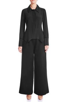Oversized collar and pointed cut in front is the key to this silk shirt. Looks great tucked in or left out. Wear yours for an effortless office or casual look. Signature Collection, Mulberry Silk, Silk Crepe, Black Silk, Casual Looks, Looks Great, Women Wear, Dresses For Work, Model
