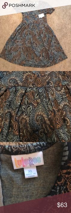 NWT Lularoe Amelia 👗 New Lularoe Amelia dress, size XL, see sizing chart for sizing recommendations. Made with jacquard fabric, some stretch, blue and gold flowered print.  ***PRICE IS FIRM BELOW RETAIL*** LuLaRoe Dresses Midi