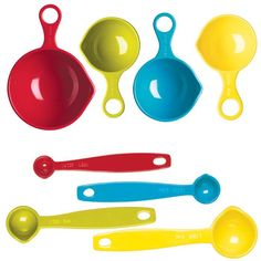 This colorful and charming eight-piece measuring set is definitely a necessity in the kitchen! Includes four measuring cups and four measuring spoons. Dishwasher safe. Melamine. Imported.