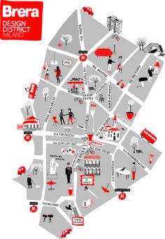 Milan Map - Brera Design District 2013 foto Silvia Gherra i should make a handlettering font with serifs Design Web, Milan Map, Milan City, Urbane Analyse, Plan Ville, Mental Map, Map Projects, Foto Poster, Tourist Map
