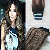 """HairDancing 14"""" 40 Pcs 100g 100% Remy Human Hair Seamless Tape Hair Extensions Color #2 Dark Brown Fading to #3 and #27 Balayage Silky Straight Tape in Hair Extensions Omber Skin Weft Hair Extensions"""