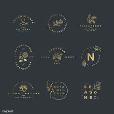 Set of botanical logo design vectors | free image by rawpixel.com Plant Logos, Badge Design, Label Design, Branding Design, Resort Logo, Cafe Logo, Floral Logo, Logo Design Inspiration, Business Inspiration
