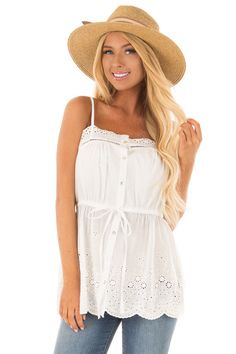 bc5c50d0c0222 Lime Lush Boutique - Off White Tank Blouse with Sheer Crochet Details