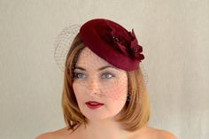 Red Wine Felt Pillbox Hat with Birdcage Veil  by RUBINAMillinery