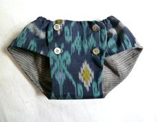 Ikat and Linen Baby Bloomer Diaper Cover