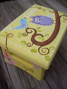 Yellow Square Owl Step Stool - Brooke Owl - Custom Customize - Bedroom Bathroom Decoration - Wooden. $47.00, via Etsy.