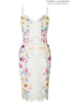 Kúpiť - Šaty Lipsy Love Michelle Keegan na ramienka zdobené kvetovanou čipkou a potlačou na Next Slovensko