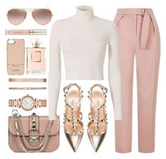 """Lush"" by jomashop ❤ liked on Polyvore featuring Topshop, Michael Kors, Valentino, A.L.C., Ray-Ban, Rebecca Minkoff, Stila, white, Pink and neutral"