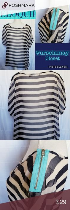 Women's Plus Size Sheer Striped Navy White Top Eloquii Women's Plus 14/16 Size Sheer Striped Navy & White Top. Pullover style with shortsleeve dolman type sleeve design. Ties at the waist with shoulder side zipper detail. Excellent Pre-owned Condition. Eloquii Tops Blouses