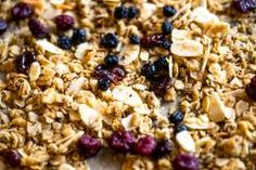This sweet, salty, crunchy, and chewy coconut oil granola is the perfect breakfast to keep you going strong through the holidays. Dried Blueberries, Dried Cherries, Love Food, A Food, Homemade Spices, Perfect Breakfast, Granola, Cooking Recipes, Yummy Food