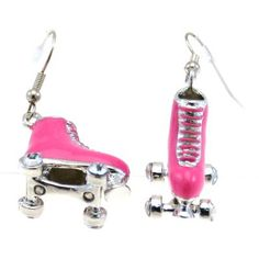 Pink rollerblade earrings