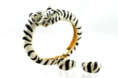 Kenneth Jay Lane White Tiger Bracelet Earring by Yourgreatfinds