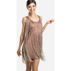 simple blush flapper inspired dress with extra long fringe