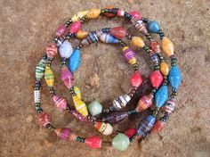 Long mulitcolored paper beaded necklace from by MyScarfBoutique