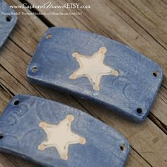 Pottery Bead with Sherriff Star in Denim Blue (5.25 USD) by CapturedMoments