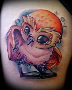 Book Owl tattoo