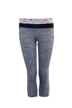 Heather Grey Contrast Waist Capri Leggings