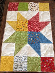 Star Layer cake Quilt for Baby Aiden made with ABC 123 by Moda