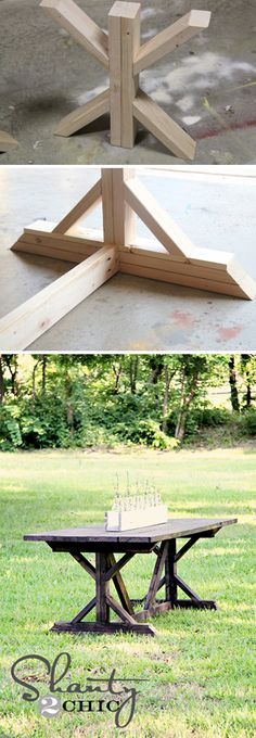 X-Farmhouse Table.... I would love this for outside instead of the table I have. How nice! Huney Mike can make me one as a nice gift! LOL