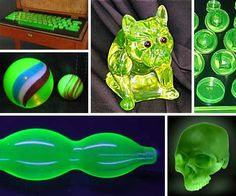 Uranium Glass, a form of glassware known for the vivid green glow it exudes under ultraviolet light, contains from 2% to 25% uranium oxide by weight. Also known as Vaseline Glass and negligibly radioactive, these pale yellow to green pieces were popular home and tableware items from the mid-nineteenth century through the start of the Cold War.