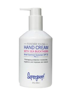 Supergoop Forever Young Hand Cream Sunscreen SPF 40 has earned a permanent spot on our sink