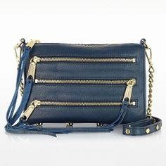 Rebecca Minkoff Mini 5 Zip Leather Clutch w/Shoulder Strap  www.VeryFirstTo.com
