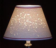 Spring flower spray-hand cut and pierced lampshade | BlackCatLampshades - Housewares on ArtFire