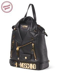 Made In Italy Leather Biker Jacket Backpack - Handbags - T.J.Maxx