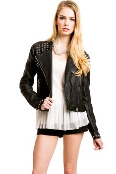 Conic Stud Pleather Bomber Jacket In... $16.00