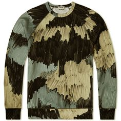 Acne College Marker Crew Sweat (Camo Grey Beige Marker)