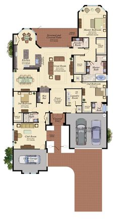 StoneCreek offers new homes in Naples nestled among beautiful preserves and lakes in the perfect location. Basement House Plans, Bungalow House Plans, New House Plans, Dream House Plans, House Floor Plans, My Dream Home, Building Plans, Building A House, Pool House Designs