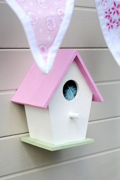 Mini bird house for outside of playhouse. I also love the fabric banner!