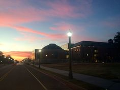 Sunrise over Baylor University's business school building, Foster Campus.
